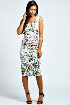 Neve Floral Midi Dress at boohoo.com