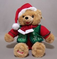 2008 Snowflake Teddy Bear Christmas Boy Tan Fur Santa Hat Green Vest Dan Dee