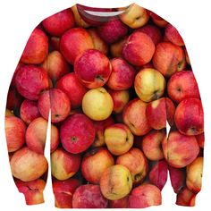 Apple Invasion Sweater by Shelfies Apple Recipes, Red Sweaters, Warm And Cozy, Make You Smile, At Least, Apples, Make It Yourself, Fruit, Polyvore