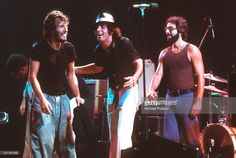 Bruce Springsteen performs on stage with Steven Van Zandt (Little Steven) and Max Weinberg of the E Street Band at the Hammersmith Odeon…