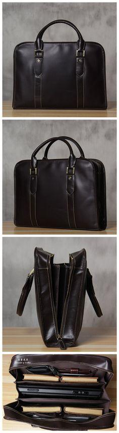 ROCKCOW Genuine Leather Laptop Bag 15 Leather Messenger Bag