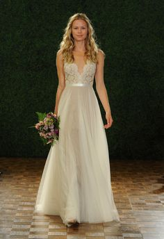 Watters Fall 2014 wedding dress | SANTINA GOWN  STYLE 6089B  | Romantic A-line gown with illusion neckline and plunging back neckline. Features hand-placed Carina lace, covered buttons, and double-faced satin ribbon at waist. Sweep train.  |  COLORS: NUDE / IVORY / BRONZE / GARDENIA  |  watters.com/...