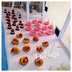 Mesa de dulces/ barra de postres / baby shower/ bautizo/ decoración/ azul/ niño/ cupcakes / brownies / tartas / Dulcesa / Metepec / Toluca