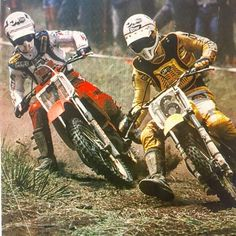 Donnie Holeshot Hansen and Broc The Golden Boy dice it out. Two great competitors back in the day #brocglover #donniehansen#thegoldenboy #holeshothansen #honda #yamaha #motocross #motocrosshistory #nationalchamps#