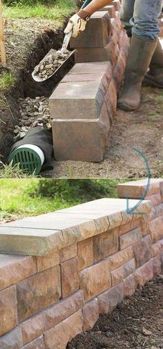 DIY Retaining Walls are pretty suitable for a yard, a garden, as they can change the whole dynamic of your space. A garden or yard retaining wall might be a necessary feature. Diy Retaining Wall, Backyard Retaining Walls, Gabion Wall, Backyard Landscaping, Concrete Retaining Walls, Landscaping Edging, Landscaping Ideas, Retaining Wall Gardens, Retaining Wall Drainage