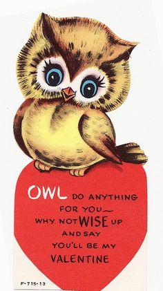 vintage valentines day owl
