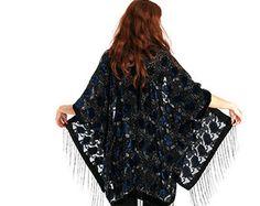 Black Burn Out Devore Velvet Kimono Nigth by HippieMassa on Etsy