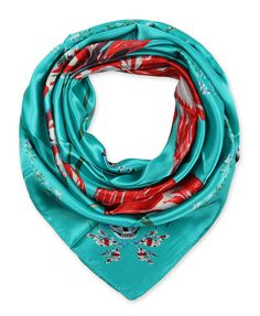 "Corciova® 35"" Silk-like Big Square Scarf 35 x 35 (Flowers turquoise background)"