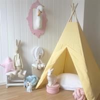 Pastel kids room with play tipi. Teepee Tent, Toddler Bed, Instagram Posts, Baby, Furniture, Yellow, Home Decor, Child Room, Child Bed