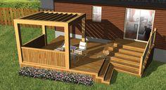 © Planimage - Cette terrasse en bois, au design épuré, est construite sur deux paliers. Le niveau surélevé est ancré à la maison et permet d'accéder au niveau inférieur ou au jardin. Recouvert d'une pergola avec panneaux de côté en bois pour préserver l'intimité et protéger des vents frais, le niveau inférieur est idéal pour les repas.