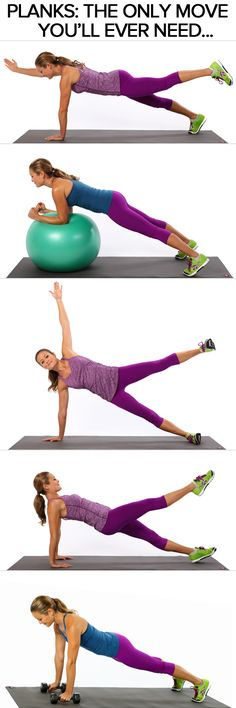 One Exercise Workout to Get In Shape. The Only Move You Need to Tone Your Entire Body -- Planks, and all its variations. Fitness Diet, Fitness Motivation, Health Fitness, Body Fitness, Fitness Quotes, Plank Fitness, Fitness Fun, Sup Yoga, Muscle Fatigue