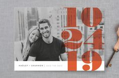 """""""Numerals"""" - Bold typographic, Modern Save The Date Cards in Tomato by Up Up Creative."""