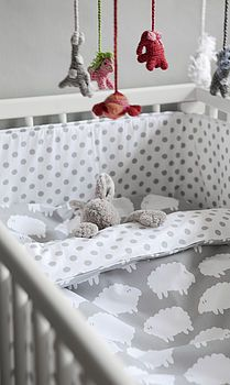 little sheep cot bed bedding by nubie modern kids boutique | notonthehighstreet.com