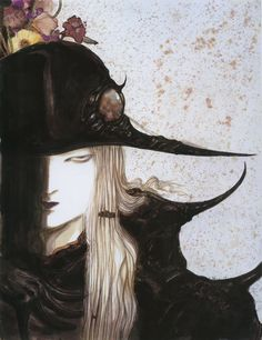 From my 'Coffin: The Art of Vampire Hunter D' artbook by Yoshitaka Amano. My scan. Character Art, Character Design, Yoshitaka Amano, Vampire Hunter D, Japan Illustration, Final Fantasy Art, Manga Artist, Dark Side, The Darkest