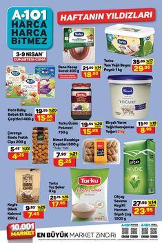 """3 Nisan ve 9 Nisan 2021 tarihleri arasında A101 marketlerde geçerli """"Haftanın Yıldızları"""" broşürü 11 sayfadan oluşmaktadır. Broşürde gıda, temizlik, kişisel bakım ve manav ürünleri yer almaktadır. #a101 #a101market #aktüelürünler #broşür #katalog #indirim Yogurt, 18th"""
