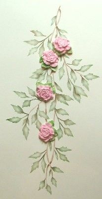Stenciled Vines and Molded Roses Stencil and plaster mold set Victoria Larsen Plaster Sculpture, Plaster Art, Plaster Molds, Sculpture Painting, Wall Sculptures, Rose Stencil, Leaf Stencil, Stencil Painting, Fabric Painting