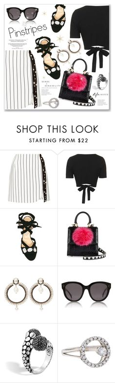 """Perfect Pinstripes"" by dressedbyrose ❤ liked on Polyvore featuring Thierry Mugler, Topshop, Bionda Castana, Les Petits Joueurs, Givenchy, CÉLINE, John Hardy and pinstripes"