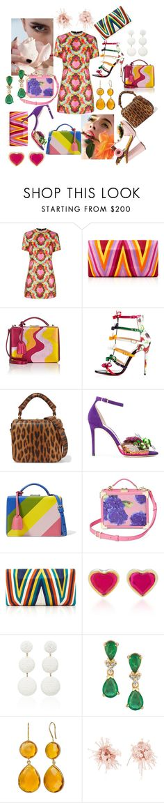 """""""#110. A dress, bags, sandals and earrings - colorful glade"""" by marina-antipanova ❤ liked on Polyvore featuring House of Holland, Mark Cross, Christian Louboutin, Sophie Hulme, Jimmy Choo, Aspinal of London, Beatriz, Rebecca de Ravenel, Johanna Ortiz and Dolce&Gabbana"""