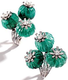 Emerald and diamond earclips - Cartier - 1930