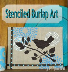 How to stencil a burlap canvas, then add a ribbon border and some pretty crystals for a little bling! #mpinterestparty