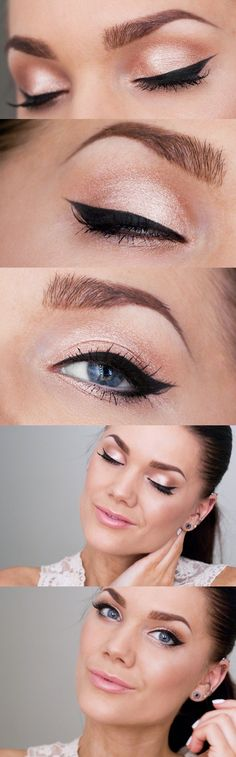 Make-up Bronze Eyeshadow Winged Eyeliner Ideen – … - Prom Makeup Looks Natural Eyes, Natural Eye Makeup, Natural Prom Makeup For Brown Eyes, Peach Eye Makeup, Shimmer Eye Makeup, Glow Makeup, Natural Eyebrows, Soft Makeup, Shimmer Eyeshadow