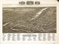 Antique Maps, Vintage World Maps, Beloit Wisconsin, Perspective, Birds Eye View Map, Old Wall, Rock, Map Art, City Photo