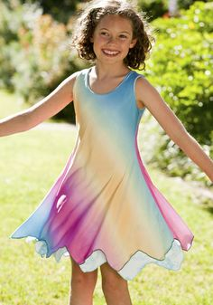 Looking for cute dresses for kids? This style is reversible.  Want to see what's on the other side of the rainbow? $64