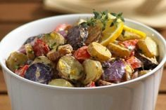 Roasted Fingerling Potato Salad with Lemon and Thyme Recipe from our friends at the U.S Potato Board Potato Dishes, Potato Recipes, Beef Recipes, Healthy Recipes, Salad Recipes, Veggie Recipes, Delicious Recipes, Yummy Food, Paleo Meals