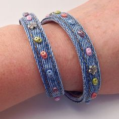 Blue Denim Jean Beaded Cuff Bracelet, Double Wrap Around Seams Recycled Eco Friendly Braclet, Multicolored & Flower Beads by EverydayWomenJewelry on Etsy https://www.etsy.com/listing/242018193/blue-denim-jean-beaded-cuff-bracelet