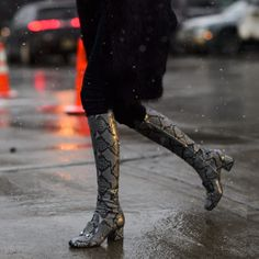 Winter Street Style From The Fall 2015 Shows   The Zoe Report Tip;amp up an all black outfit with a boot rendered in an exotic skin