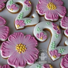 27 Trendy Cake Decorating Flowers Fondant Royal Icing - My CMS Birthday Cake Cookies, Easter Cookies, Flower Sugar Cookies, Sugar Cookie Royal Icing, Cookie Icing, Fondant Cookies, Fancy Cookies, Iced Cookies, Cookies Et Biscuits