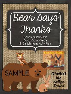 Bear Says Thanks - Companion and Enrichment... by The SAH Teacher | Teachers Pay Teachers