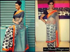 Wear a Net Simple Saree For Wedding Occasion.  Some beautiful ladies love to wear light weight saree during the events like mehndi. So how about wearing a net saree with simple patchwork border and printed pleats.