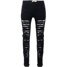 Glostory Women's Ripped Black Skinny Denim Jeans Distressed Hole... (295 ARS) ❤ liked on Polyvore featuring jeans, pants, bottoms, destruction jeans, denim skinny jeans, distressed jeans, destructed jeans and skinny fit denim jeans