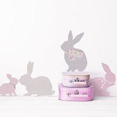 These rabbit wall stickers add a pretty touch to girl's rooms. The rabbits come in a range of vintage floral patterns in shades of pink, grey and aqua. Bunny Room, Bunny Nursery, Girl Nursery, Girls Bedroom, Bedroom Ideas, Nursery Ideas, Nursery Wall Stickers, Butterfly Wall Stickers, Wall Decals