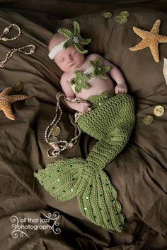 mons Crochet Baby Mermaid Costume Tail Prop Sets made to order from CrochetbyBernadette on Etsy. Saved to Baby. Baby Mermaid Costumes, Crochet Baby Costumes, Crochet Baby Clothes, Crochet Baby Hats, Baby Knitting, Knit Crochet, Crochet Outfits For Babies, Crochet Granny, Crochet Bikini
