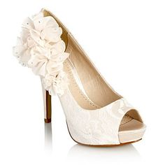 Ivory ruffled corsage court shoes - High heel shoes - Shoes & boots - Women -