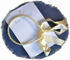 Head Band Pearls With Ribbon