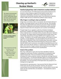 Cleaning up Hanford's nuclear waste, by the Oregon Department of Energy