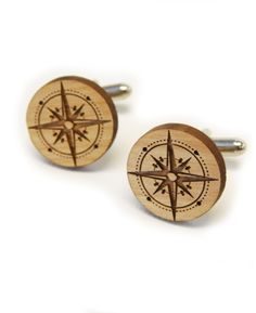 Wooden Compass Cufflinks