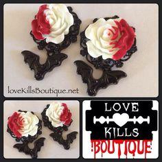 PICK SIZE Custom Plug Bats Bloody Rose plugs by Lovekillsboutique, $15.00