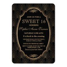 Charm Roaring 20s Great Gatsby Art Deco Sweet 16 Card - rsvp gifts card cards diy unique special