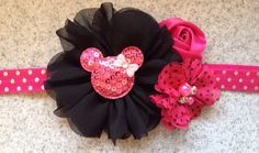 Minnie Mouse headband hot pink Minnie Mouse by KenzeesKloset