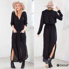 Fashion Deep V Split Belted Dress OASAP.com