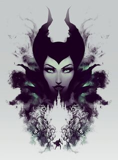 Maleficent Disney Sleeping Beauty Rorschach style by jefflangevin.