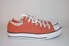 Men's Converse Chuck Taylor ALL STAR Orange Canvas Lo Top Athletic Sneakers 7  #Converse #AthleticSneakers