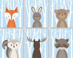 Baby Boy Nursery Art Woodland Nursery Decor от YassisPlace