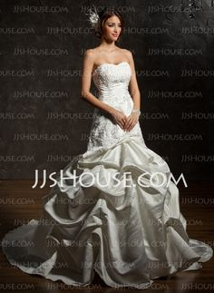 Wedding Dresses - $227.99 - A-Line/Princess Sweetheart Chapel Train Satin Wedding Dresses With Lace  Beadwork (002000483) http://jjshouse.com/A-line-Princess-Sweetheart-Chapel-Train-Satin-Wedding-Dresses-With-Lace--Beadwork-002000483-g483