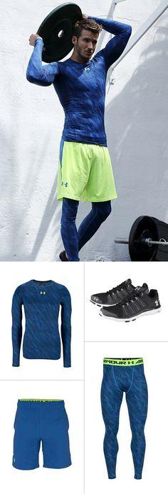 Mit diesem Sportoutfit darfst du beim Training gerne mal blau machen: Die Lauftight, das Funktionsshirt und die Shorts von Under Armour sind farblich perfekt aufeinander abgestimmt – die Laufschuhe bieten höchsten Komfort und eine hervorragende Dämpfung.