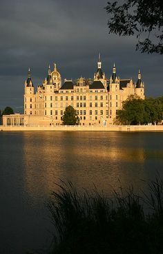 Schwerin Palace - right after the rain former residence of the Dukes of Mecklenburg; nowadays state parliament, Denmark